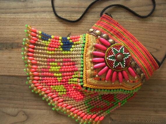 Tribal fringe mini bag // purse // ethnic // beadwork // gypsy // colorful // tradition // flower // folk