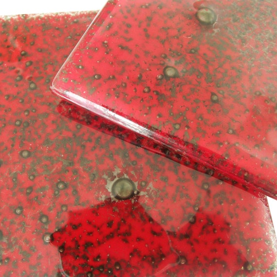 Red glass coasters poppy seed, set of 2