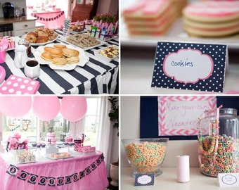 Instant Download, CHEVRON Pancakes & Pajamas-Printable TENT CARDS - As Seen on Amy Atlas Events