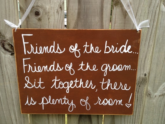 Rustic Brown and White Sit Together There is Plenty of Room Wedding Sign