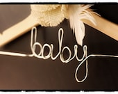 Child's Hanger w/ Bulap Flower - Personalized Baby Shower Gift