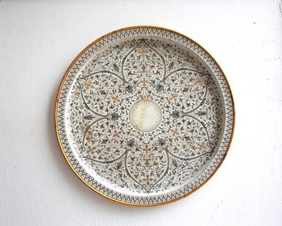 Vintage Metal Tray, Serving Tray, Decorative Platter, Venetian Tray, Morrocan, Round Platter, Serving Platter, Metal Platter, Party Tray