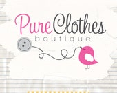 Sweet bird and button premade business logo and watermarks