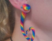 Rainbow Heart, Star, Squiggly, or Twisted Faux Gauge Earrings
