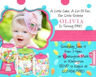 Sweet Shoppe Birthday Party Invitation - Printable Photo Card Digital File