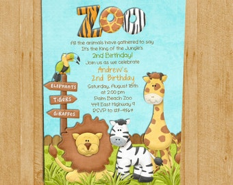 Jungle birthday invitation safari invitation zoo invitation zoo birthday invitation jungle animals custom and printable stopboris Choice Image
