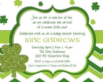 St Patricks Day Baby Shower Invitation Printable and Custom
