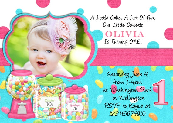 Sweet Shoppe Birthday Party Invitation - Printable Photo Card Digital File