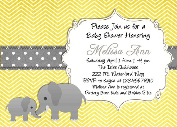 yellow elephant baby shower invitation yellow and gray,