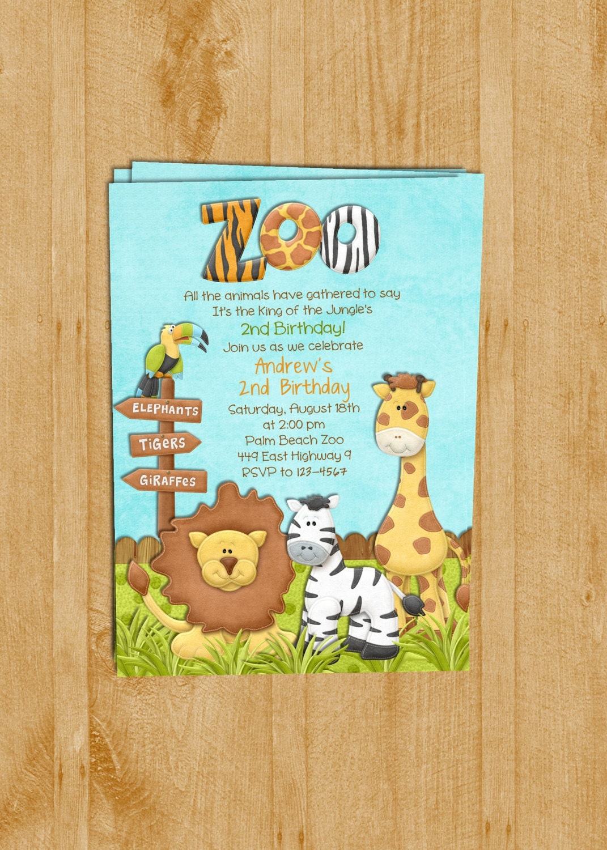 Zoo Birthday Invitation Jungle Animals Custom and