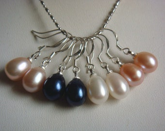 PEARL EARRING- 4 pairs  cultured white pink lavender black  pearl dangle earrings 925 silver hook