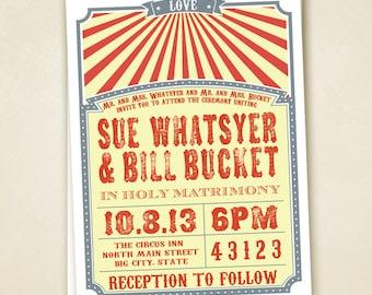 Circus Wedding Invitation PRINTABLE