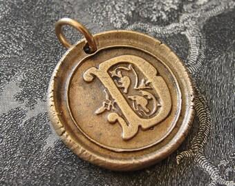 wax seal charm initial D