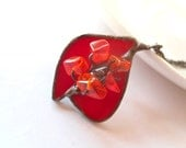 Stained glass pendant, bohemian necklace, gift for wife, contemporary jewelry, artistic necklace, copper wire, red beaded pendant, Romantic