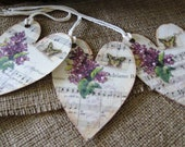 Ivory and Lavender Heart Tag w/Lilacs & Butterfly on Vintage Music, Victorian Look