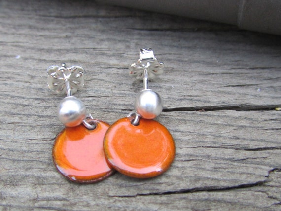 SALE/// Pumpkin earrings sterling silver and enamel - Orange