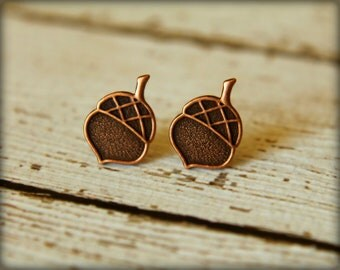 Acorn Earring Posts, Available in Antique Copper and Antique Silver