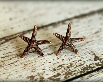 Starfish Earrings in Aged Copper