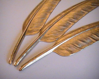 1 pc Large Feather Raw Brass Stamping Unfinished Brass Mix Media Brass Feather Collage Altered Art Jewelry Supplies