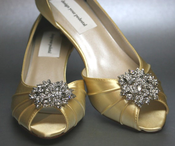 "Custom Wedding Shoes -- Canary Yellow Peeptoes with Rhinestone Cluster and ""I Do"" Adornment"