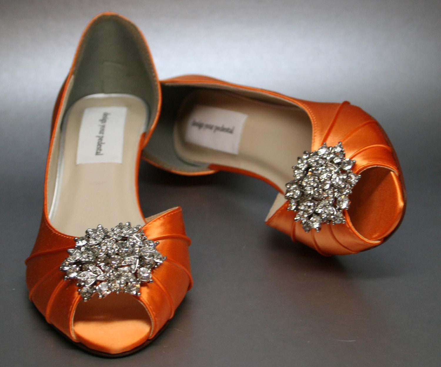 SAMPLE SALE Wedding Shoes Bright Orange Peeptoes With