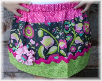 Girls Twirl Skirt Custom ...Tulip Garden..Available in 0-12mon,1/2,3/4,5/6,7/8, 9/10 Bigger Sizes Available