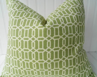 Green Throw Pillow - 18 inch Throw Pillow - Green Trellis/Lattice Accent Pillow - Fern Green