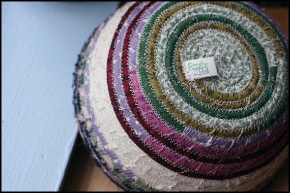 Winter Spring / Purple Green Palette Fabric Coil Bowl Basket