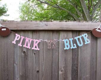 Gender Reveal Decorations, Gender Reveal Banner, Pink VS Blue, Gender Reveal Ideas, Quarterback Or Cheerleader, Gender Reveal Photo