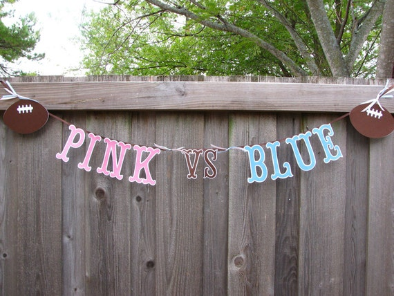 Baby Shower Gender Reveal Party Pink vs Blue Football