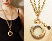 Looking Glass - Magnifying Glass Pendant on Double Gold Finish Brass Chain Necklace with 14k Gold Plated Fleet Signature Charm
