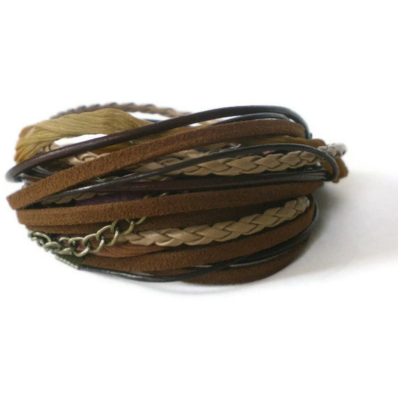 brown leather wrap bracelet, boho, suede, chain, ribbon, shabby chic, triple wrap