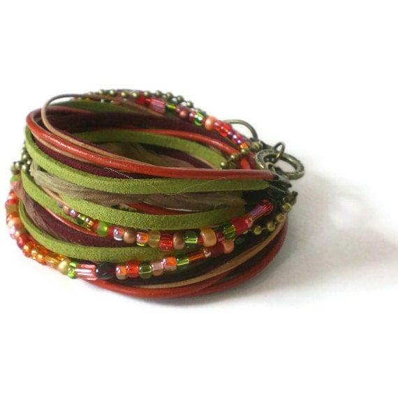 boho leather wrap bracelet ribbon leather wrap suede by