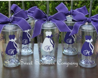 7 Personalized Bridesmaid Acrylic Tumblers with Lid & Straw