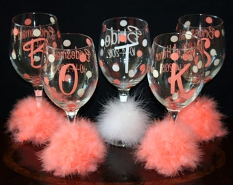 6 Bride or Bridesmaid Polka Dot Wine Glasses, Great for the Bachelorette Party