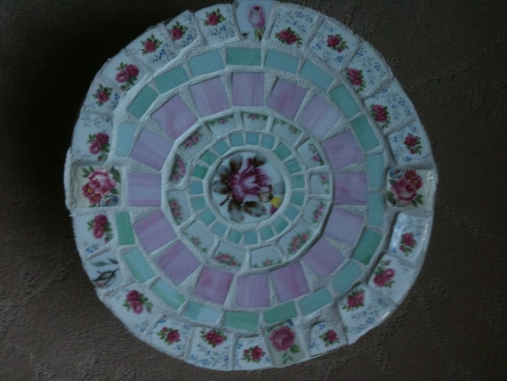 Vintage China, Pink Roses, Shabby Chic Round Mosaic Plant Stand,  Foot Stool,  Small Table,  Round Mosaic Table