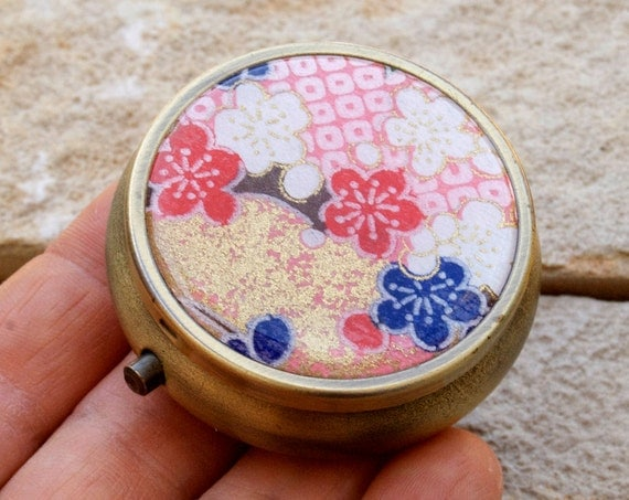 Japanese chiyogami with antiqued bronze round Pill box / case (cherry blossom) with GIFT BOX