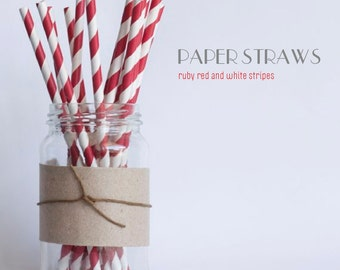 25 Ruby Red and White Striped Paper Straws  - Standard 7.75'' / 19.68cm