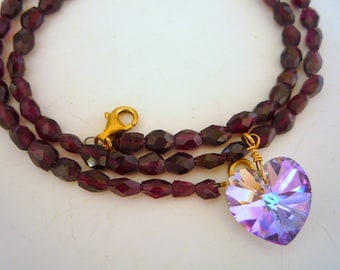 Garnet oval faceted semiprecious stones necklace with Swarovski Crystal Heart.