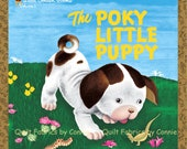 The Poky Little Puppy Fabric Golden Book by Quilting Treasurers - 1 Book Panel
