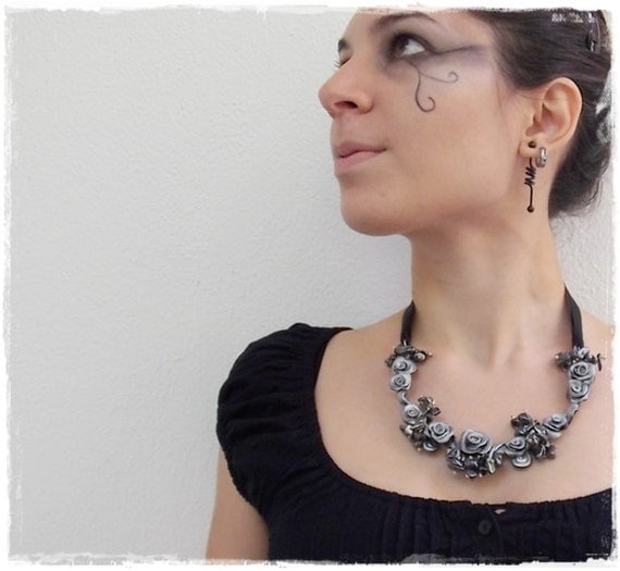 Black Rose Statement Necklace, Gothic Polymer Clay Rose Jewelry, Hematite Collar - One Of A Kind (OOAK)