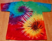 Reserved for Aidan    Tie Dye Shirt Mens Large with Rainbow Spirals and black stained glass