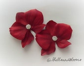 Wedding Bridal Hair Flowers - Natural Cymbidium Orchids Floral Fascinators - Red - Rhinestones - Tropical Beach