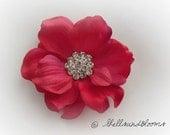 Wedding Hair Flower - Rhinestone - Alligator Clip -  Hot Cabaret Striated Pink Primrose - Tropical Anemone - Bridesmaid Beach - Sale