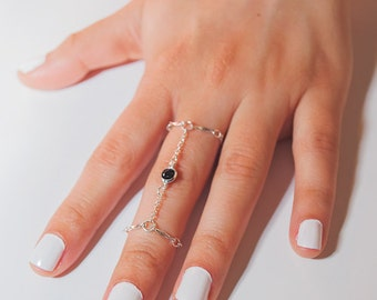 Dainty Silver Black Bead Double Chain Ring