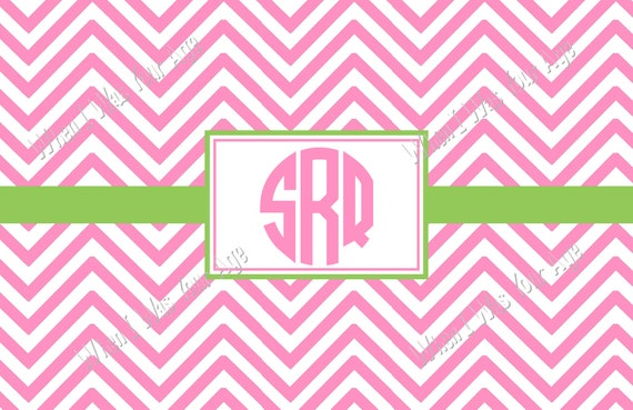72 Color Choices - Chevron Monogrammed, Personalized Placemat