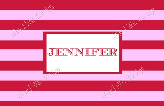 Red and Pink Stripe Personalized Placemat