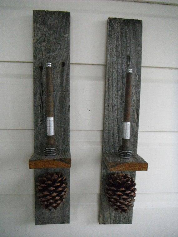 Sale 25 off Primitive Wall Sconce Pair Pine Cone Accents Home
