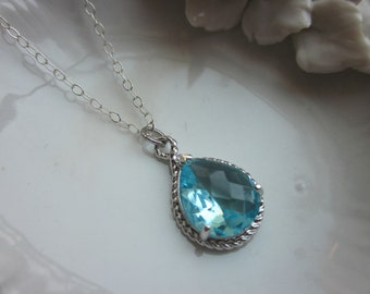 Aquamarine Necklace Silver Blue Teardrop Sterling Silver Chain - Bridesmaid Necklace - Bridesmaid Jewelry - Wedding Jewelry - Christmas Gif