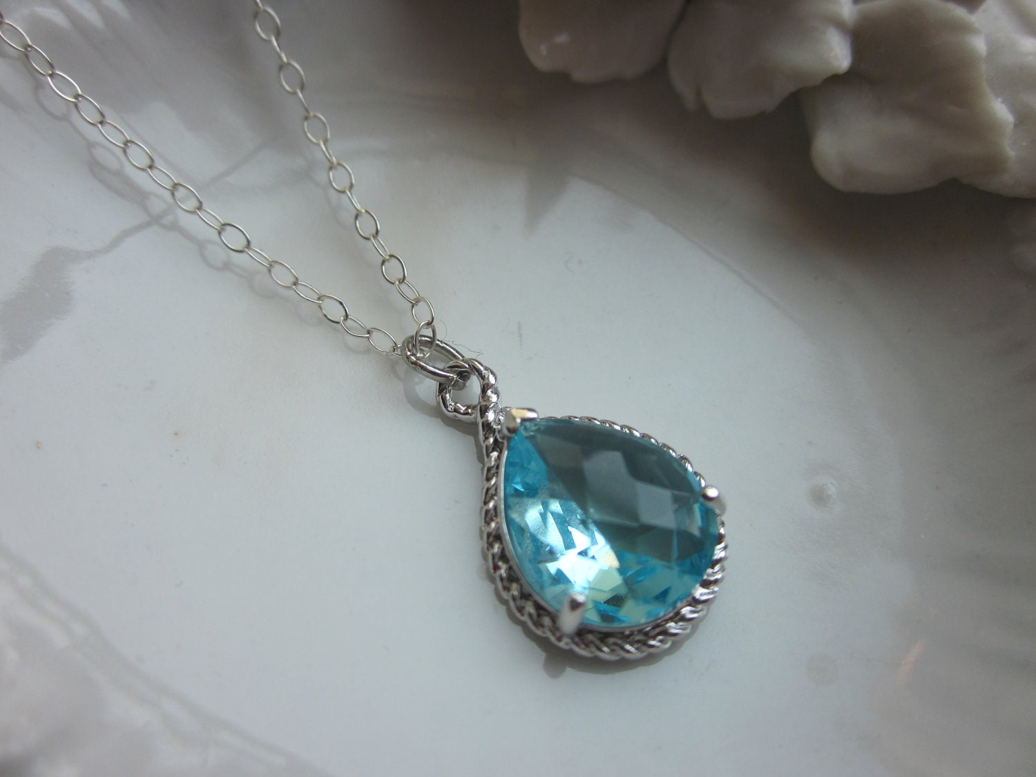 Aquamarine Necklace Silver Blue Teardrop Sterling Silver Chain